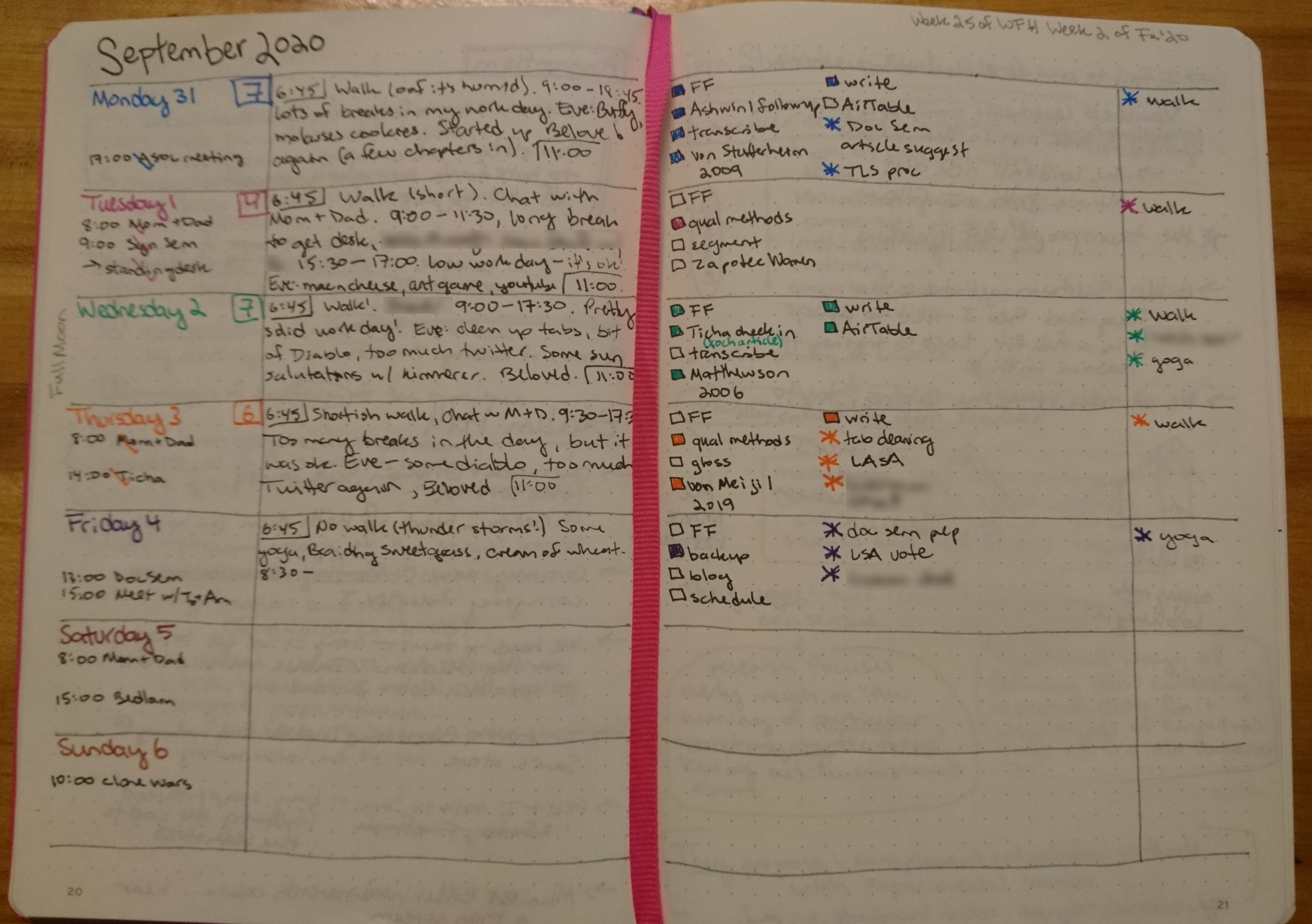 My weekly schedule, freedrawn in a bullet journal, is divided into seven long horizonal strips. Each day has it's own color, and is divided into a list of events for the day, a small journal section, a list of work-related to-do's, and a list of additional household tasks.