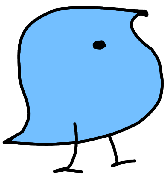 A blue bird drawn in a simple cartoon style.